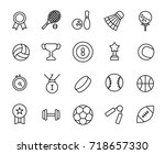 premium set of sport line icons.... | Shutterstock .eps vector #718657330