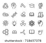 premium set of science line... | Shutterstock .eps vector #718657378