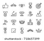 premium set of success line... | Shutterstock .eps vector #718657399
