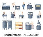 dairy production set of cartoon ... | Shutterstock .eps vector #718658089