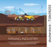 miners with tools under ground... | Shutterstock .eps vector #718658203