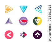 colorful pack of futuristic... | Shutterstock .eps vector #718661518