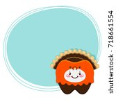 cute tooth  turkey  costume for ... | Shutterstock .eps vector #718661554