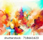 abstract colorful oil painting... | Shutterstock . vector #718661623