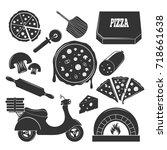 pizza vintage elements set of... | Shutterstock .eps vector #718661638