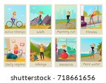 healthy lifestyle cards set... | Shutterstock .eps vector #718661656