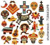 set of mexican holiday symbols... | Shutterstock .eps vector #718661698