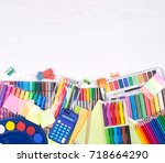 colorful stationery supplies... | Shutterstock . vector #718664290