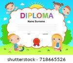 kids diploma certificate... | Shutterstock .eps vector #718665526