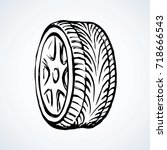 big round shape tire with... | Shutterstock .eps vector #718666543