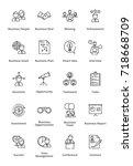 black business icons   outline... | Shutterstock .eps vector #718668709