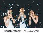 celebration party  holding... | Shutterstock . vector #718669990