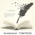 writing old feather with flying ... | Shutterstock .eps vector #718670218