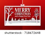 marry christmas horisontal... | Shutterstock . vector #718672648