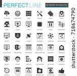 black classic network... | Shutterstock .eps vector #718674790