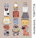 hand drawn fall fashion...   Shutterstock .eps vector #718677718