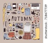 hand drawn fall fashion... | Shutterstock .eps vector #718677739