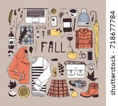 hand drawn fall fashion... | Shutterstock .eps vector #718677784