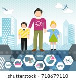single parent family | Shutterstock .eps vector #718679110