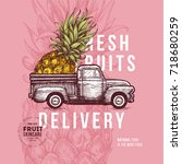 fruit delivery design template. ... | Shutterstock .eps vector #718680259