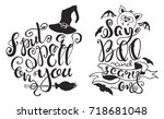 set with halloween labels with... | Shutterstock .eps vector #718681048