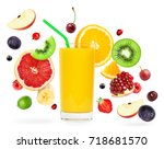 fresh mixed fruits falling and... | Shutterstock . vector #718681570