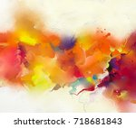 abstract colorful oil painting... | Shutterstock . vector #718681843