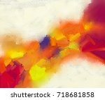abstract colorful oil painting... | Shutterstock . vector #718681858