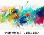 abstract colorful oil painting... | Shutterstock . vector #718681864