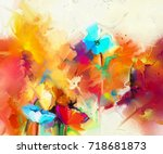 abstract colorful oil painting... | Shutterstock . vector #718681873