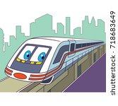 cartoon electric train ... | Shutterstock .eps vector #718683649