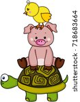 stack of chick with pig and... | Shutterstock .eps vector #718683664
