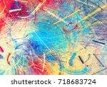 bright color fireworks.... | Shutterstock . vector #718683724