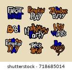 set of color halloween hand... | Shutterstock .eps vector #718685014