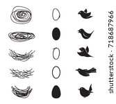 vector of bird's nest and eggs... | Shutterstock .eps vector #718687966