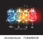 new years 2018 polygonal line... | Shutterstock .eps vector #718688428