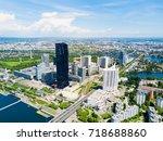 danube city aerial panoramic... | Shutterstock . vector #718688860