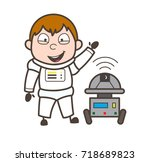 cartoon laughing astronaut with ... | Shutterstock .eps vector #718689823