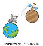 earth satellite and mars...   Shutterstock .eps vector #718689946