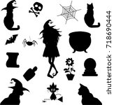 Stock vector halloween silhouettes witch pumpkin black cat cauldron spiderweb potion scroll bat 718690444