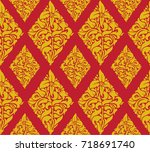 seamless floral pattern.... | Shutterstock .eps vector #718691740