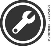 wrench icon    dark circle sign ...