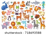 Stock vector big vector set of animals collection of cute animals in cartoon style panda penguin lion 718693588