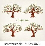 set of isolated argan trees... | Shutterstock .eps vector #718695070