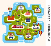map of amusement park with... | Shutterstock .eps vector #718695094