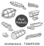 beef ham and smoked roulade... | Shutterstock .eps vector #718695100