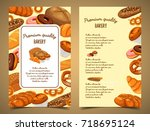 bakery food or bread loaf ... | Shutterstock .eps vector #718695124