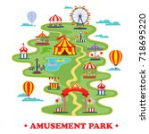 amusement park with carousels... | Shutterstock .eps vector #718695220