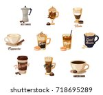 set of isolated coffee banners... | Shutterstock .eps vector #718695289