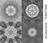 set of abstract decorative... | Shutterstock . vector #718697068
